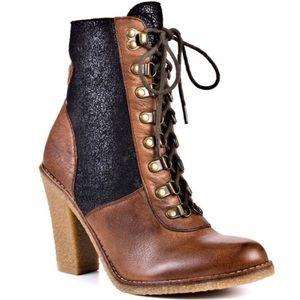 Sam Edelman Tara Leather Heeled Lace Up Boots 6.5